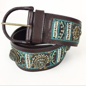 Chico's Belt Leather Southwestern Turquoise Beaded